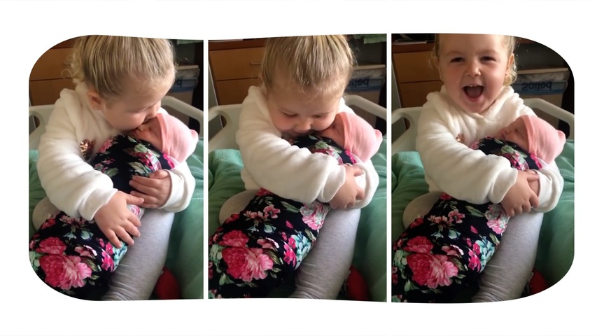 Heartwarming Moment 3-year-old Pennsylvania Girl Meets Her Baby Sister for The First Time