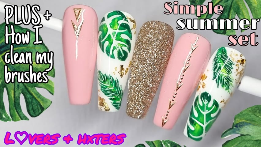 🌿 QUICK & EASY SUMMER   NAIL ART DESIGN   Stamping   Decals   Glitter   Gel Polish