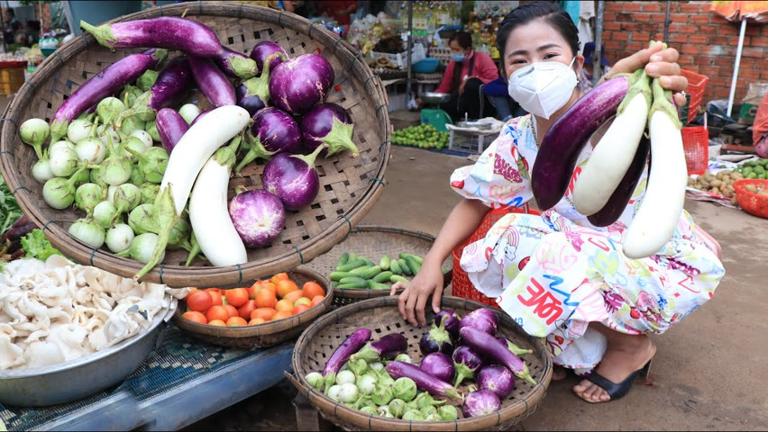 Fresh vegetable in the morning in the market / Buy ingredient for cooking / Countryside life TV