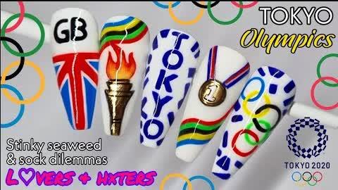 🥇 TOKYO OLYMPICS   Nail Art Design   2020 / 2021 Gel Polish Tutorial   Rings   Flame   Logo   Medal