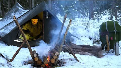 Winter Solo Overnight - Vintage Canvas Tent - Extreme Cold -  Self Feeding Long Fire - Woodsman Meal