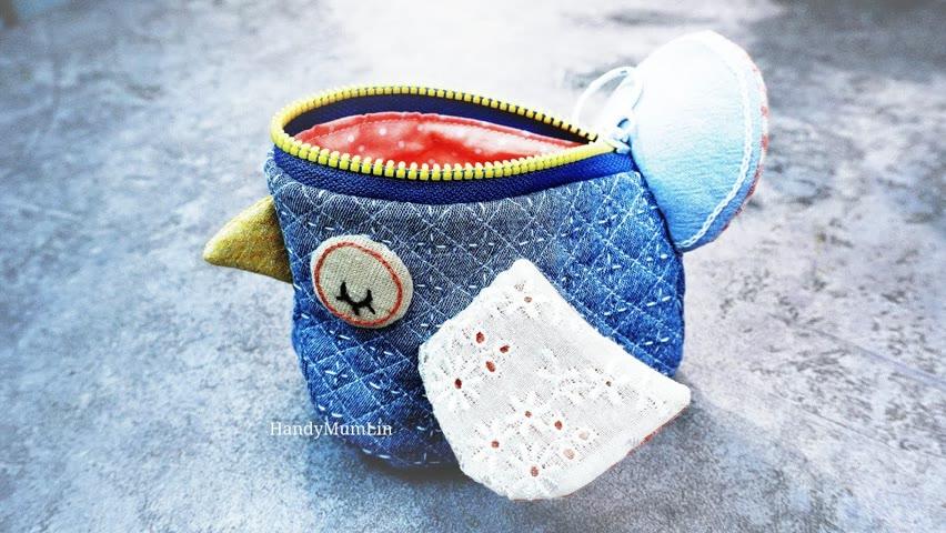 DIY Christmas Gift Idea / Cute Bird Pouch Tutorial / Old Jeans Reuse