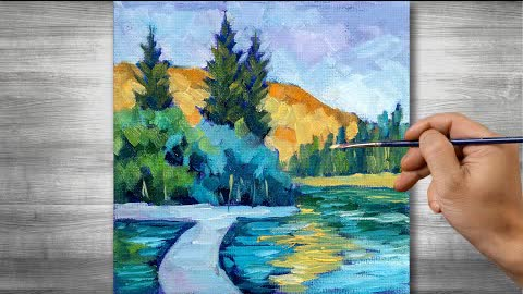 Lakeside landscape painting | Oil painting time lapse |#297
