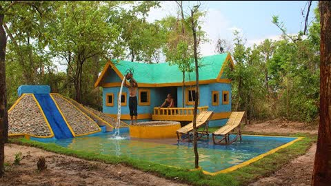 Build Creatively Colors Mud House Design,Groundwater Well & Water Slide To Underground Swimming Pool