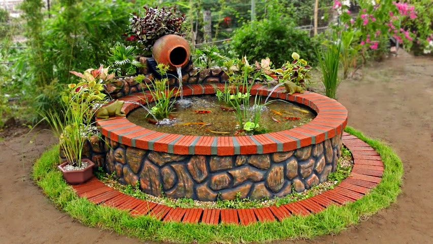 How to transform your garden into sweet space with beautiful waterfall aquarium, fish and trees