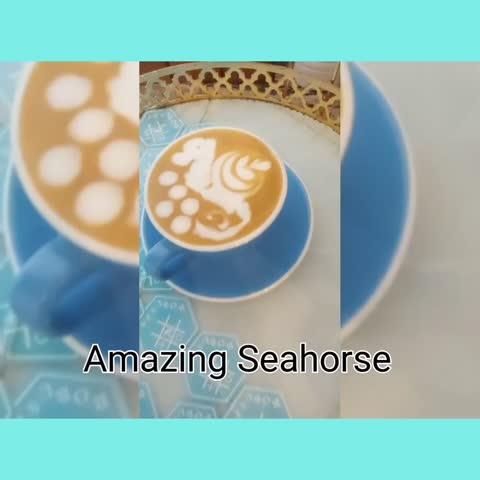 Seahorse latte art