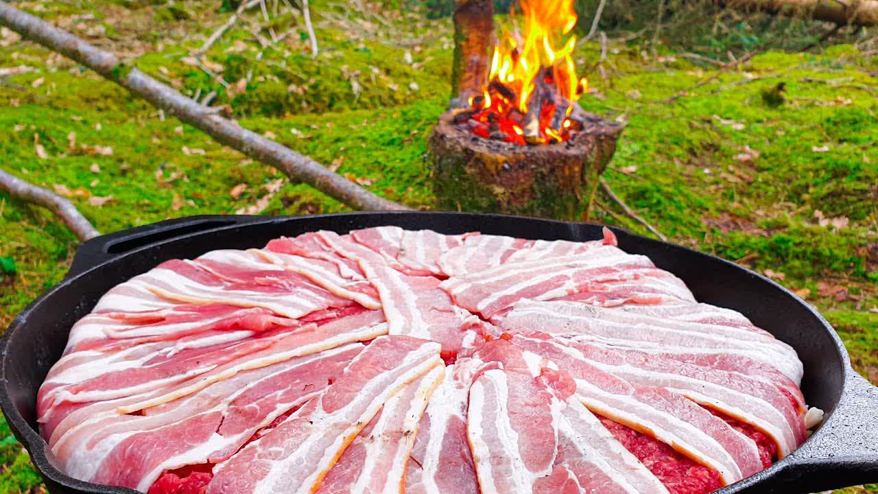 "Forest Meatloaf  ""Cake"" full of goodness😍 ASMR Wilderness Cooking! NO TALK"