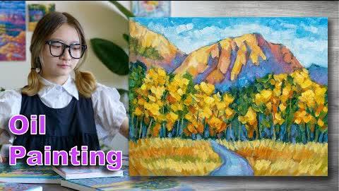 Autumn landscape painting | Oil painting time lapse |#303