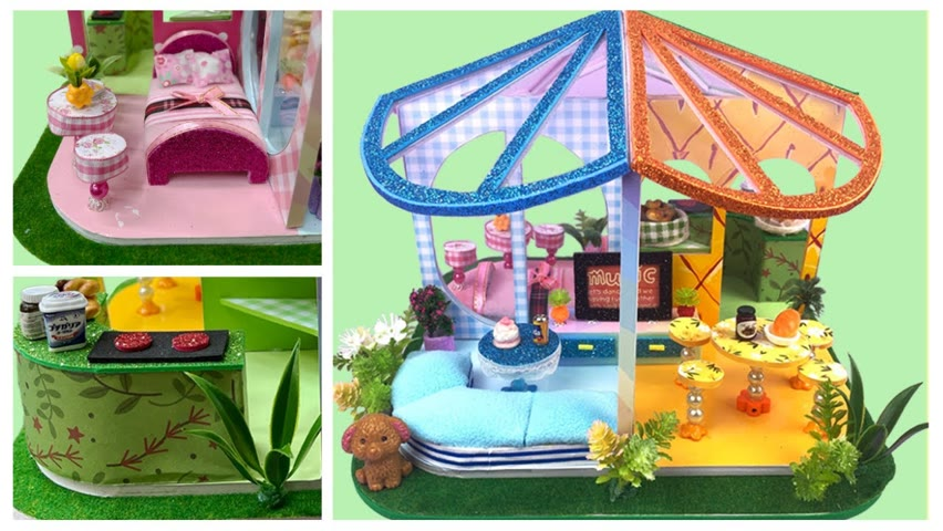 DIY Miniature House Having 4 Rooms With 4 Colors: Blue, Yellow, Green and Pink | Cocokid Corner