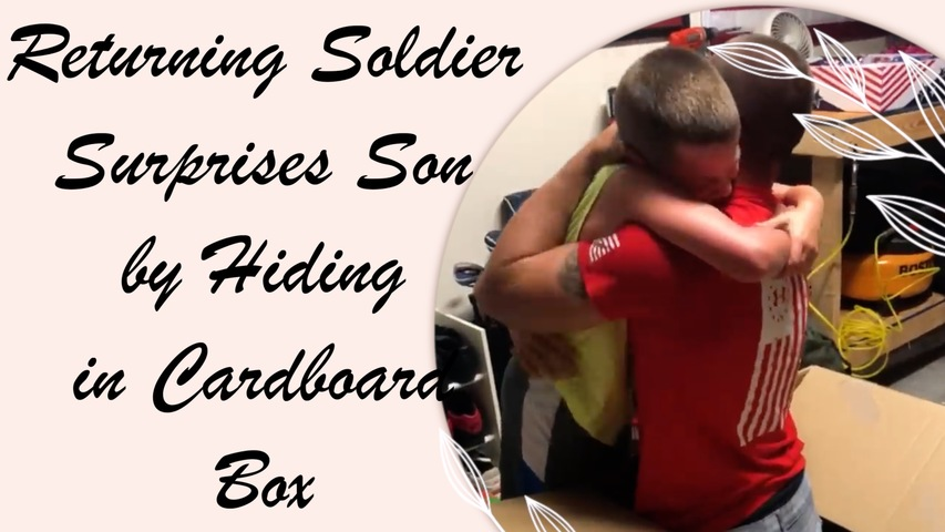 Returning Soldier Surprises Son by Hiding in Cardboard Box