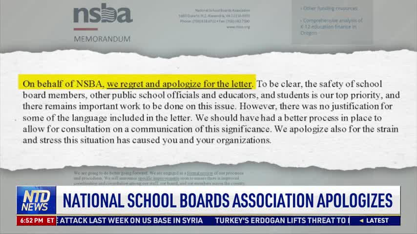 National School Boards Association Apologizes for Letter