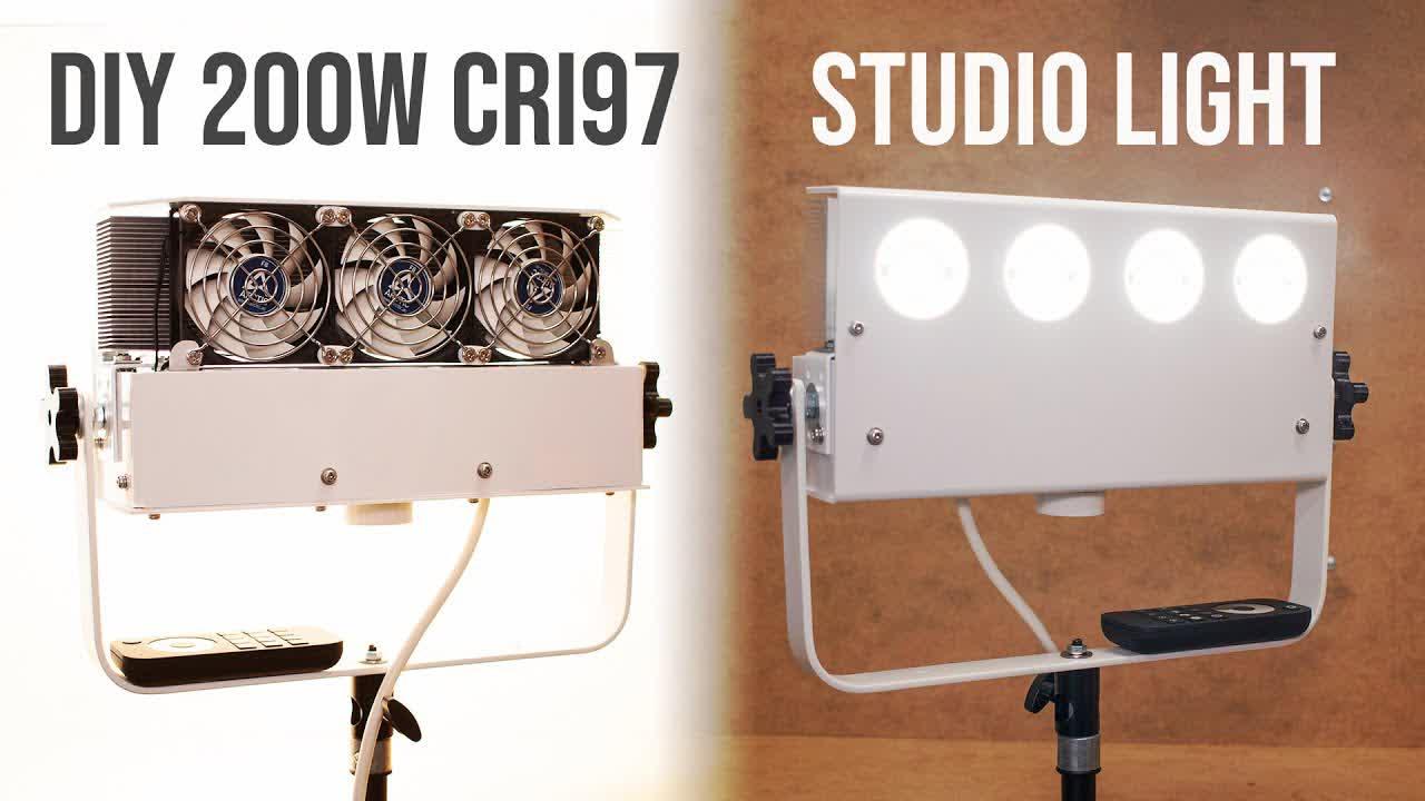 Homemade 200W LED Studio Light of 20000-lumen! (AUTO FAN SPEED + REMOTE DIMMING)