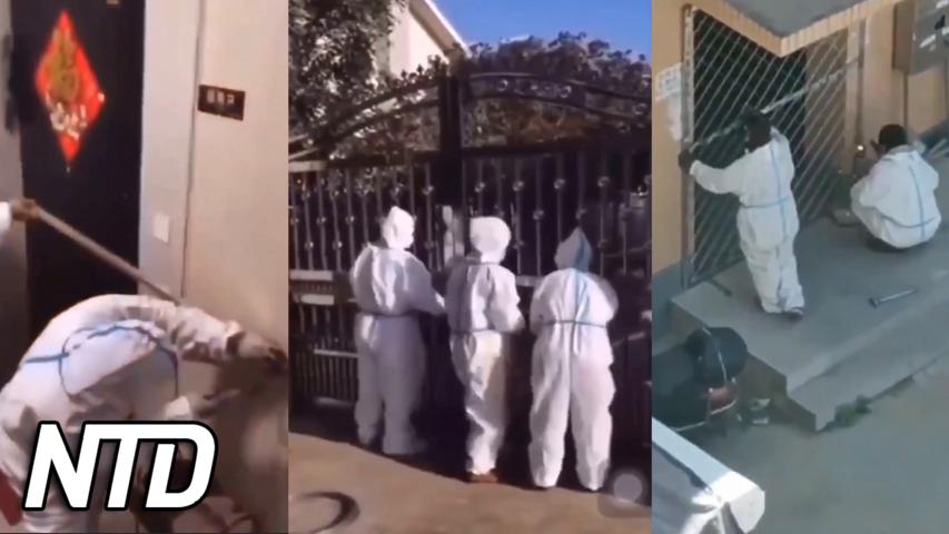 Kinesiska tjänstemän blockerar dörrarna för invånarna | NTD NYHETER