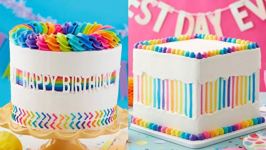 Technique Cake Decorating Ideas | Amazing Rainbow Cake for Anniversary | Birthday Cake Videos