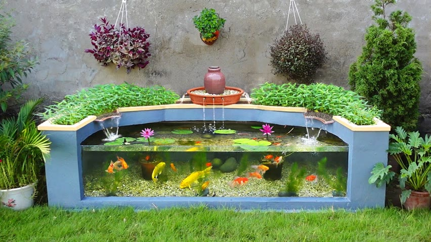 The Secret to make a aquarium combined with grow clean Vegetables / Garden decoration ideas
