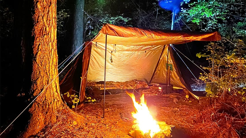 Autumn Hot Tent Camping | Cooking on Wood Stove