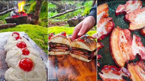 Smoked Pork Belly Sandwich🔥 Forest Baking, ASMR Style