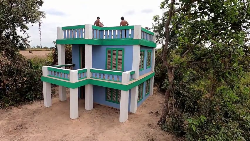 31 Day Build Amazing Creative 2-Story Queen Mud Villa House In Forest