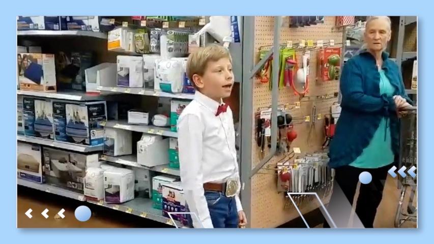 Boy Sings Out in Walmart
