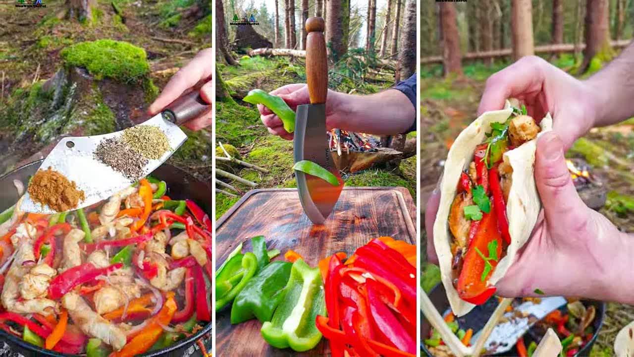 Chicken Fajitas 🔥 ASMR Forest Kitchen.