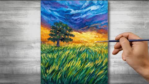 Sunset scenery painting | Oil painting time lapse |#299