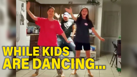 Dad Surprises Kids while They're Dancing