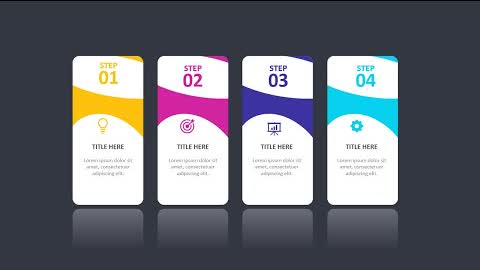 4 Colorful Steps slide in PowerPoint