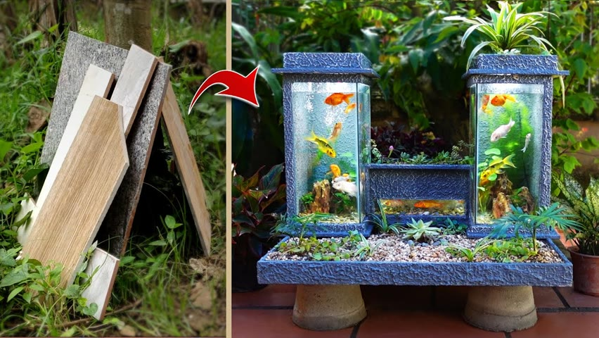 New design ideas- make an aquarium as twin towers from cement and floor tiles
