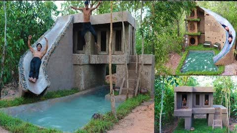 Build Two The Most Beautiful Water Slide Luxury Villa Around Underground Swimming Pool In Forest