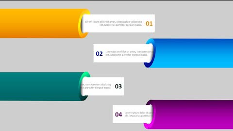 4 Pipe Shape Text Reveal Options Slide in PowerPoint