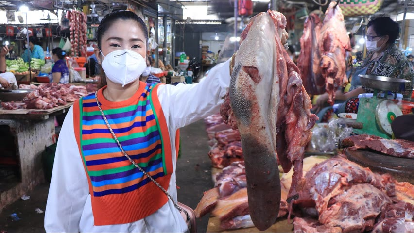 Market show, Yummy braised cow tongue eat with bread recipe / Buy ingredient from market for cooking