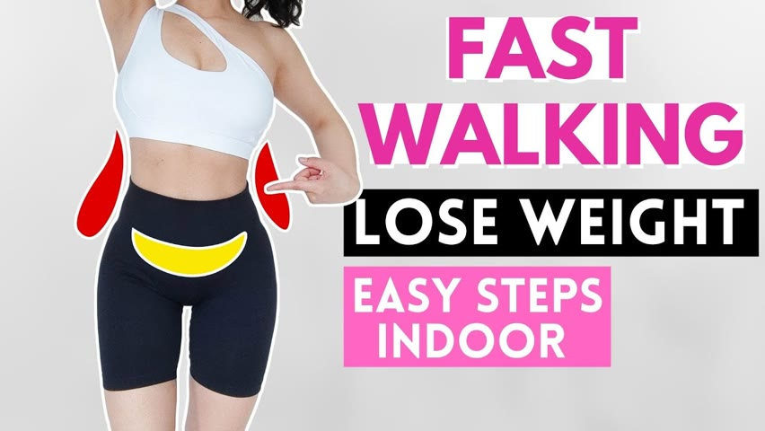 FAST WALKING TO LOSE BELLY FAT, easy step indoor 10 min in 10 day challenge, abs & waist. Part 1