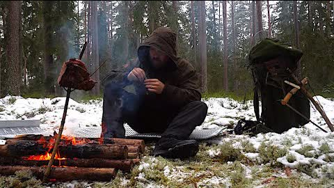 3 Days Winter Wild Camping - Sleeping under Tree - Cold Weather Hike