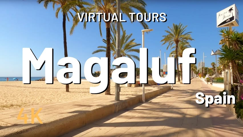 MAGALUF Walking Tour 🇪🇸 Beach and Bar for Nightlife Mallorca Spain 4K Video Tour after Lockdown