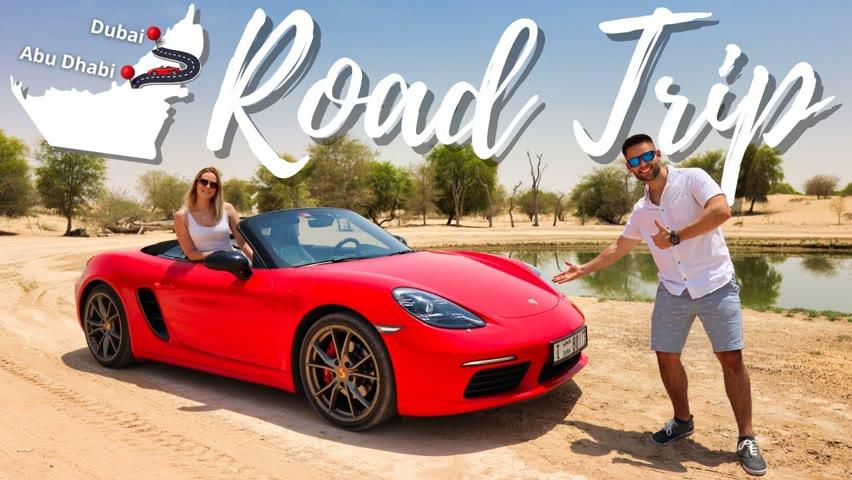 SUPERCAR Road Trip From Dubai To Abu Dhabi / Porsche Boxster 718 Spyder