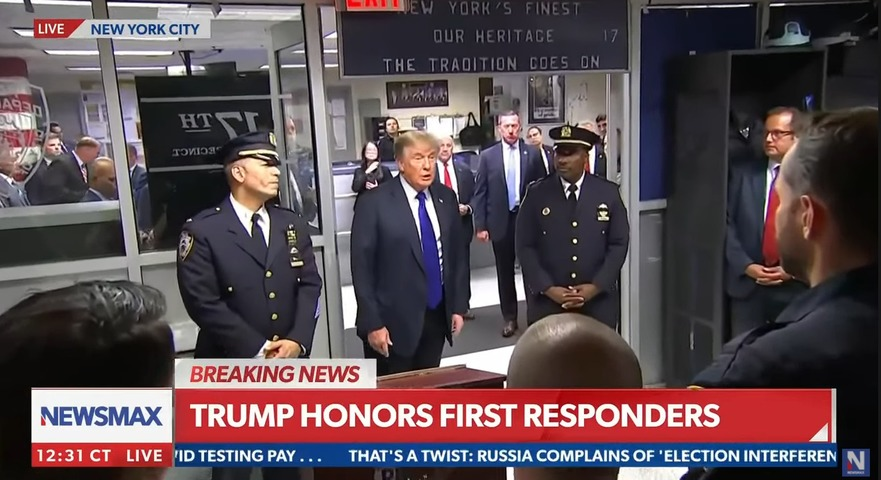 President Trump visits NYPD to support first responders on 911