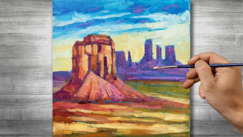 Canyon landscape painting   Oil painting time lapse  #320