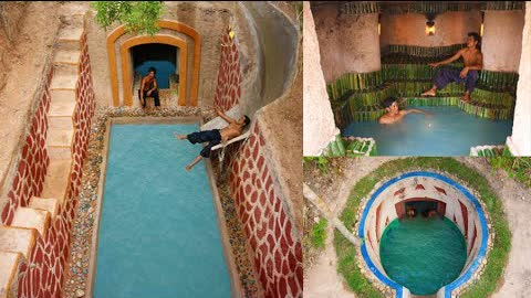 Build The Most Tunnel Water Slide Park To Underground Swimming Pool And Secret Underground House