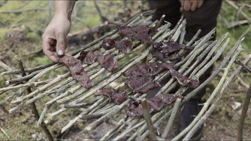 3 days solo bushcraft trip - drying meat, beach and forrest, bedroll, sleeping under the stars etc.