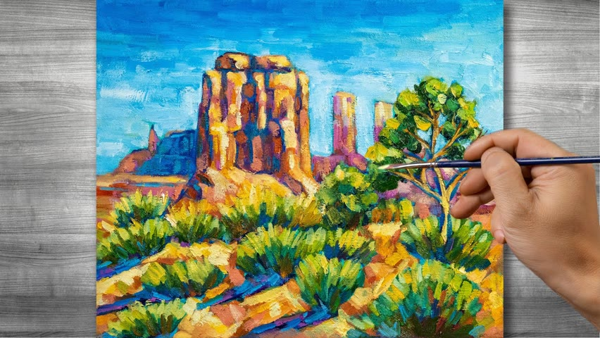 Sedona scenery painting   Oil painting time lapse  #316