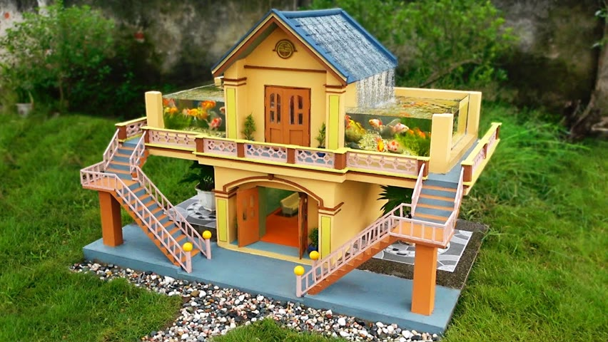 Build a two- floor house with a beautiful aquarium for your garden