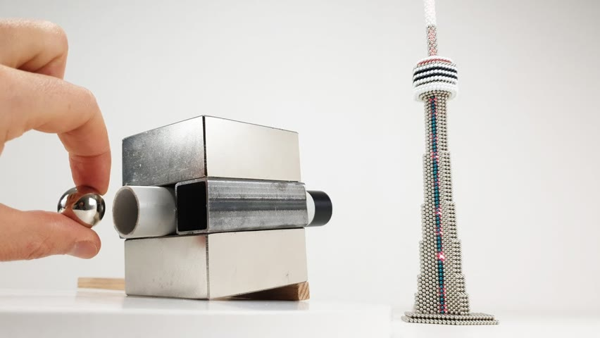 Magnetic Cannon VS CN Tower out  of Magnetic Balls   Magnetic Games