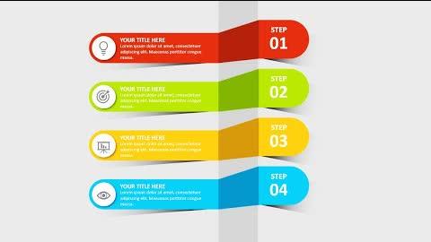 4 Steps Multicolor Slide Design in PowerPoint