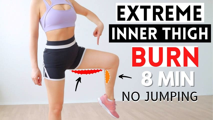 8 Min fast & effective inner thigh burn, slimmer thighs & legs, get rid of cellulite, no jumping, P3