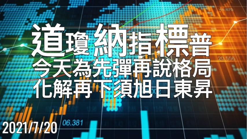 美股三大期指 今天会先弹再说,日K线需收旭日东升,方能化解指数再下探 7/20