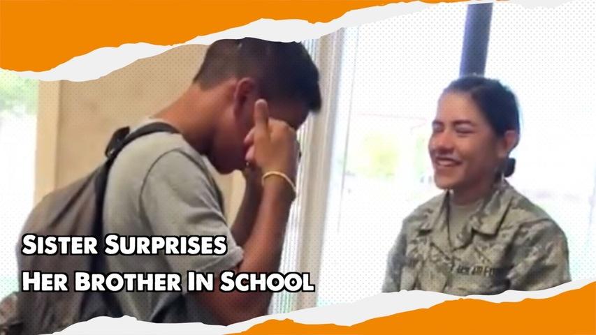 Sister Surprises Her Brother In School