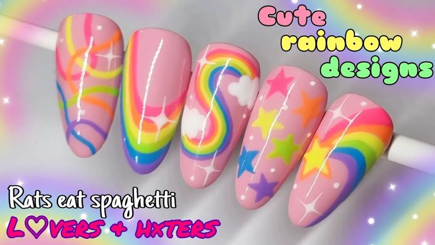 🌈 CUTE RAINBOW STAR NAILS   Gel Polish Nail Art Design   Pretty Pastel Summer Stars