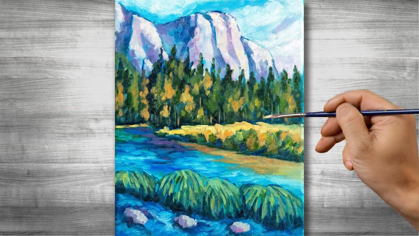 Mountain scenery painting | Oil painting time lapse |#298