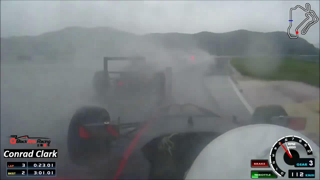 Conrad Clark amazing wet weather drive