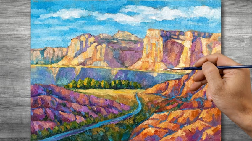 Canyon scenery painting   Oil painting time lapse  #318